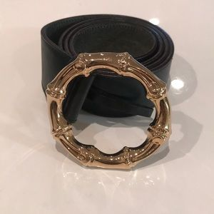 GUCCI green belt with gold bamboo hardware